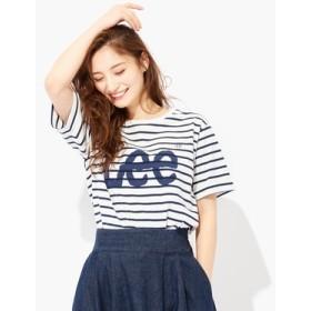 Lee ロゴプリントTシャツ レディース オフホワイト*ネイビー
