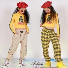 キッズ ダンス衣装 子供 ヒップホップ パンツ ショートトップス hiphop ジャズダンス ステージ衣装 チェック柄パンツ