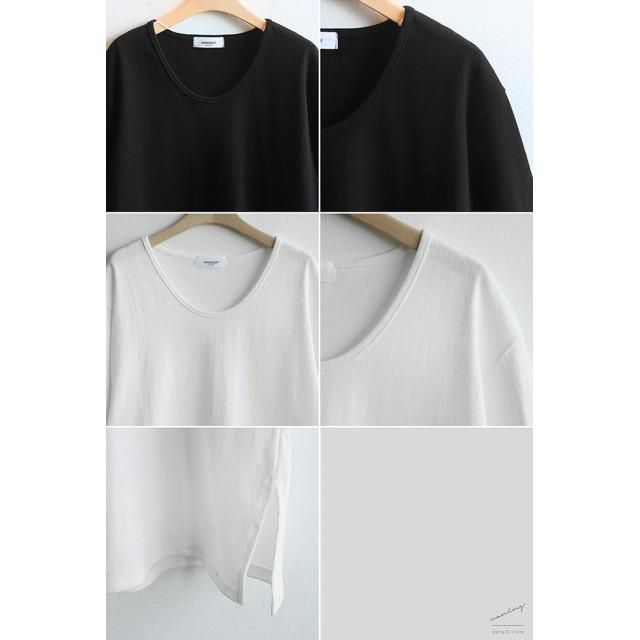 Tシャツ - NOWiSTYLE NANING9(ナンニング)UネックメンズライクTシャツ韓国ファッション ボックスTシャツ 白 Tシャツ ゆったり 半袖Tシャツ体型カバー メンズライクTシャツ オバーフィット Uネック トップス 春 夏 無地T 着回しTシャツ ナンニング レデ