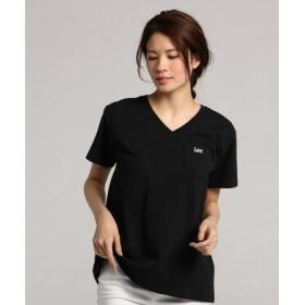 Lee ポケット付きVネックTシャツ レディース ブラック