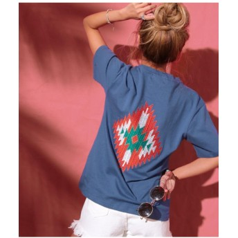 【58%OFF】 アナップ オルテガ刺繍Tシャツ レディース NVY F 【ANAP】 【タイムセール開催中】