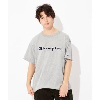 Champion ビッグ刺繍ロゴショートスリーブTシャツ メンズ グレー