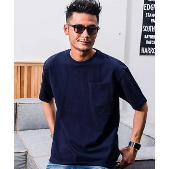シルバーバレット CavariAUSAコットンビックシルエットクルーネック半袖無地Tシャツ メンズ ネイビー系1 44(M) 【SILVER BULLET】