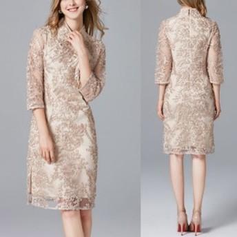 チャイナドレス フォーマル パーティードレス ワンピース 結婚式 お呼ばれ ドレス スリット入り 20代 30代 40代 50代 透け感 大人可愛い