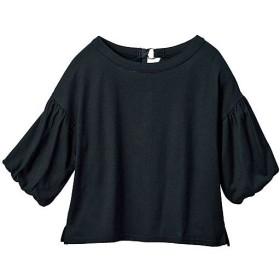 40%OFF【レディース】 バルーンスリーブカットソー - セシール ■カラー:ブラック ■サイズ:S,M,L