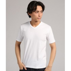 BACK NUMBER ストレッチVネックTシャツ メンズ ホワイト