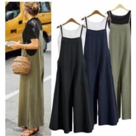 オールインワン レディース 綿 無地 大きいサイズ スリット キャミ サロペット ワイドパンツ 春秋 韓国 ファッション プチプラ
