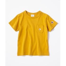 Champion ワンポイントポケット付きクルーネックTシャツ(ジュニアサイズ150cm) キッズ イエロー