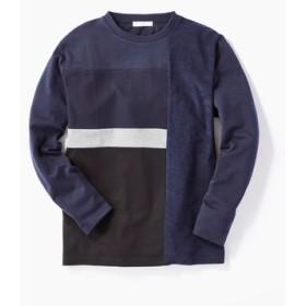 CERONIAS 異素材キリカエ長袖Tシャツ メンズ ネイビー