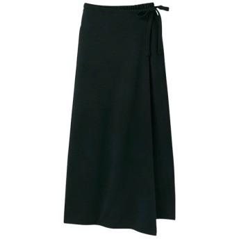 Ranan 巻きスカート風ワイドパンツ(ブラック)