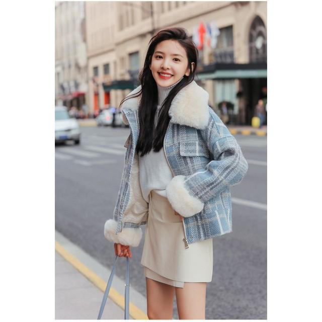[55555SHOP] グレンチェックチェスターコート フェイクウールコート レディース 韓国ファッションショート丈