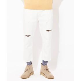 Wrangler 【WEB限定】クラッシュテーパード アンクルパンツ メンズ ホワイト