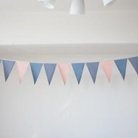 布ガーランド 290cm フラッグ 旗 結婚式 パーティー キャンプ 店舗装飾 飾り デニムピンク