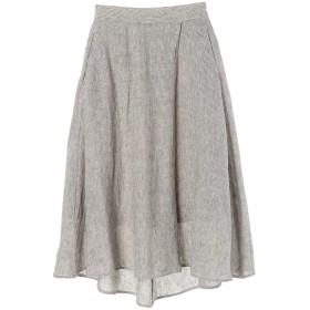 【5,000円以上お買物で送料無料】【mamagirl 夏号掲載】麻混ラップ風フレアロングスカート