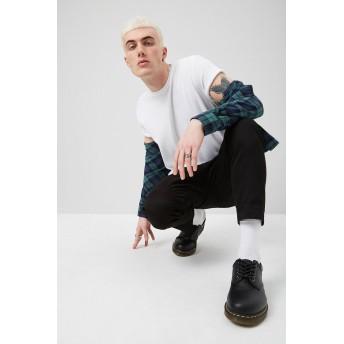 Tシャツ - FOREVER 21【MEN】 【ベーシッククルーネックTシャツ】無地 シンプル 白 ホワイト 黄色 イエロー XS S M L ストリート f21 半袖tシャツ