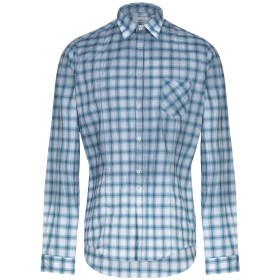 《セール開催中》AGLINI メンズ シャツ ブルー 40 コットン 97% / ポリウレタン 3%