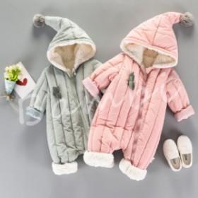 ベビー服 ロンパース カバーオール 新生児 赤ちゃん 帽子付き お出かけ ふわふわ 暖か