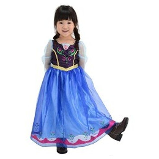 ディズニー アナと雪の女王 アナ おしゃれドレス キッズコスチューム 女の子 100cm-110cm