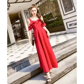 春に入る前の準備 期間限定大特価 韓国ファッション CHIC気質 新作 背透けて フリル ビーチスカート 海辺のホリデードレス シフォン気質のドレス