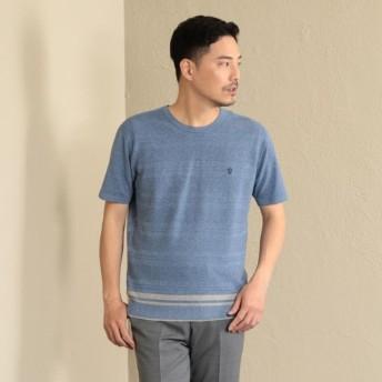 SALE【ザ・スコッチハウス(THE SCOTCH HOUSE)】 【洗濯可】ボーダーニットTシャツ ブルー