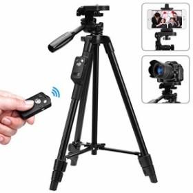 スマホ三脚 ビデオカメラ 三脚 一眼レフカメラ 軽量 ミニ 3WAY雲台 4段階伸縮 360回転 Android対応 コンパクト アルミ製 Bluet