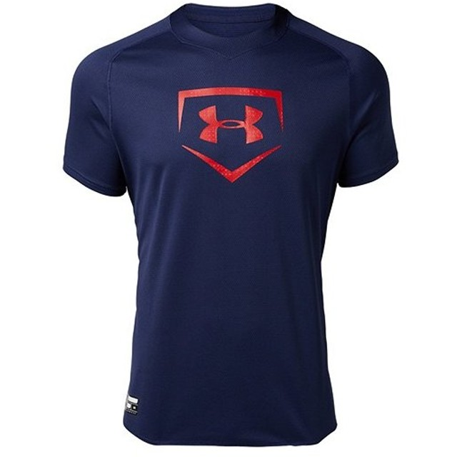 アンダーアーマー(UNDER ARMOUR) メンズ 野球 ビッグロゴ ベースボールシャツ ミッドナイトネイビー 1331502 410 トレーニングウェア Tシャツ 半袖 UA