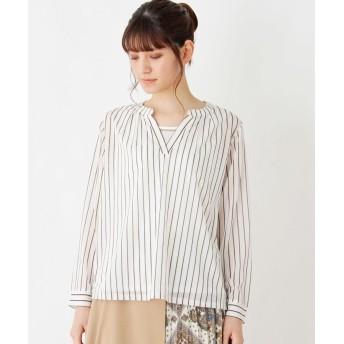 シャツ - grove 【洗える】衿タックエスパンディーシャツ・タンクセット