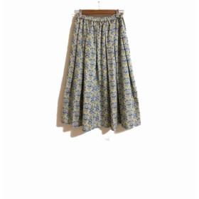 コットンのフラワープリントのギャザースカート うさぎ
