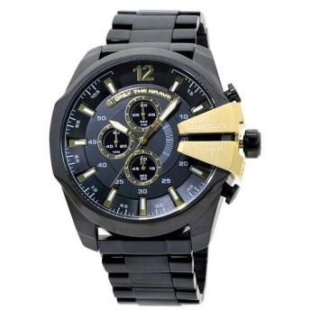 INT-408ディーゼル DZ4338 メガチーフ クロノ メンズ オールブラック×ゴールド 時計/ウォッチ