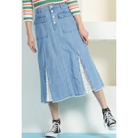 MAYSON GREY 【socolla】【洗濯機OK】レースコンビデニムフレアスカート その他 スカート,ブルー