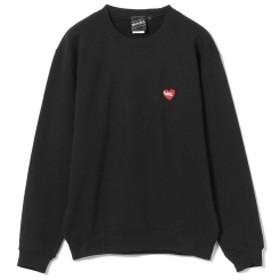 【SPECIAL PRICE】BEAMS T / BLACK HEART × CREEP LOGO Crewneck Sweatshirt メンズ スウェット BLACK XL