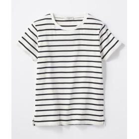 BACK NUMBER リブクルーネックTシャツ レディース オフホワイト*ネイビー
