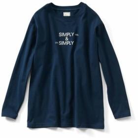 USAコットンの大人ロゴTシャツ〈ネイビー〉 IEDIT[イディット] フェリシモ FELISSIMO【送料無料】