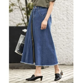 リエディ フロントジップ切替えタイトスカート レディース ブルー S 【Re: EDIT】