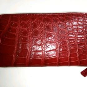 高品質 クロコダイル 赤 ラウンドファスナー 長財布