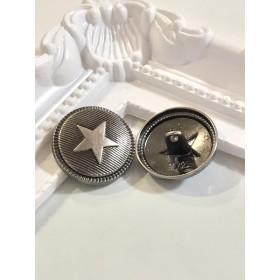メタル風ボタン スター シルバー×2個セット m34