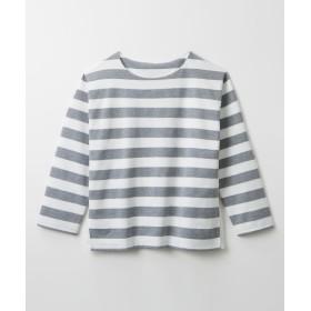 異素材使いボートネックボーダートップス (Tシャツ・カットソー)(レディース)T-shirts