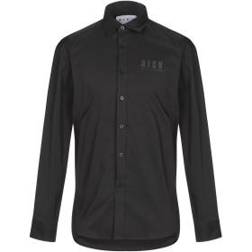 《期間限定 セール開催中》JOHN RICHMOND メンズ シャツ ブラック 46 コットン 52% / ナイロン 45% / ポリウレタン 3%
