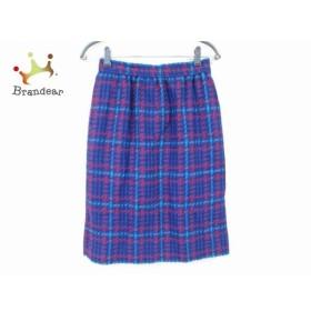 ジバンシー スカート サイズ12 L レディース 美品 ブルー×レッド×ライトブルー チェック柄 新着 20190304