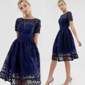 ドレス ワンピース キャップスリーブ プレミアムレースドレス 二次会 披露宴 変身 レディース チチロンドン