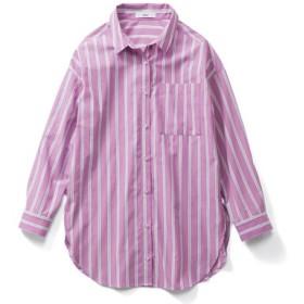 キレイ色で着映えする ソロテックス(R)混のストライプロングシャツ〈パープル〉 IEDIT[イディット] フェリシモ FELISSIMO【送料無料】