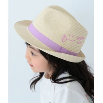 BEAMS mini / スマイル刺繍中折ハット 19s キッズ ハット LILAC ONE SIZE