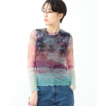 Ray BEAMS / シアー プリント チュール Tシャツ◇ レディース カットソー PINK ONE SIZE