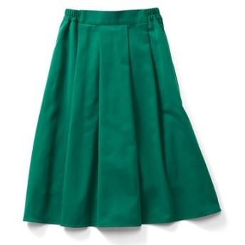 撥(はっ)水機能できれいをキープする キレイ色Aラインスカート〈グリーン〉 IEDIT[イディット] フェリシモ FELISSIMO【送料無料】