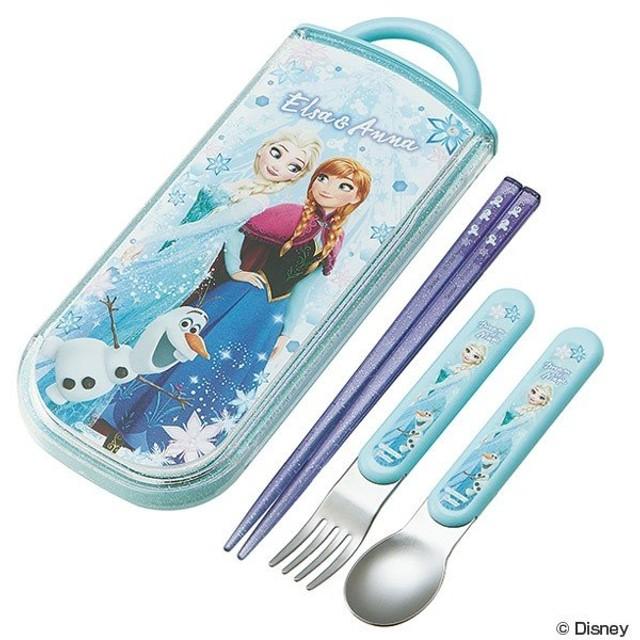 トリオセット 箸・フォーク・スプーン アナと雪の女王 スライド式 子供 キャラクター ( 子供用お箸 幼稚園 保育園 食洗機対応 )