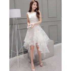ドレス ウエディングドレス S~2XL対応 結婚式ドレス 半袖 ファッション 白 ノースリーブ