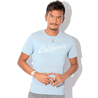 【15%OFF】 ラグスタイル サマーニット メンズ ニット 半袖 CALIFORNIA カリフォルニア サーフ SURF 夏 BITTER ビター系【CALIFORNIAクルーネック半袖サマ メンズ サックス XL 【LUXSTYLE】 【タイムセール開催中】