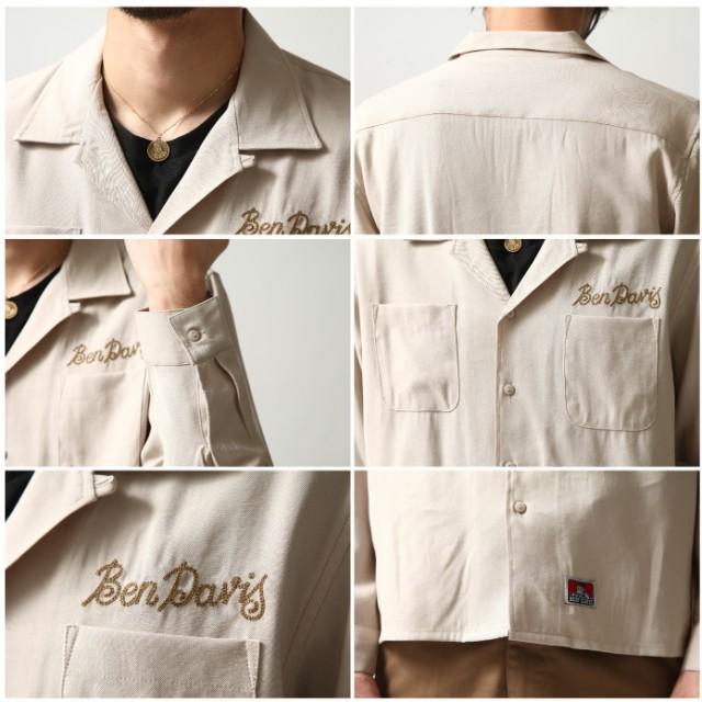 シャツ - ZIP CLOTHING STORE シャツ メンズ カジュアルシャツ オープンカラー 開襟シャツ 刺繍 ロゴ 長袖 BEN DAVIS ベンデイビス[zip-cs]【t-8380022】 / ZIP ジップ 冬服 服 メンズファッション