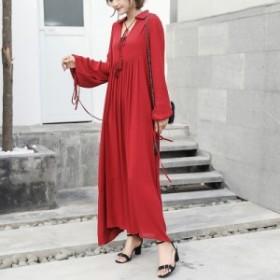 送料無料 ワンピースドレス 大きいサイズ レディース マキシ丈 タッセル Vネック カジュアル 体型カバー お出かけ デイリー