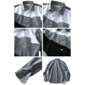 シャツ - 大きいサイズの店ビッグエムワン 大きいサイズ メンズ DANIEL DODD 長袖 オックスフォード チェック使い バイアス 切替 ボタンダウン シャツ 春夏新作916-190105
